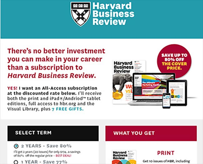 Harvard Business Review Sign-Up Landing Pages